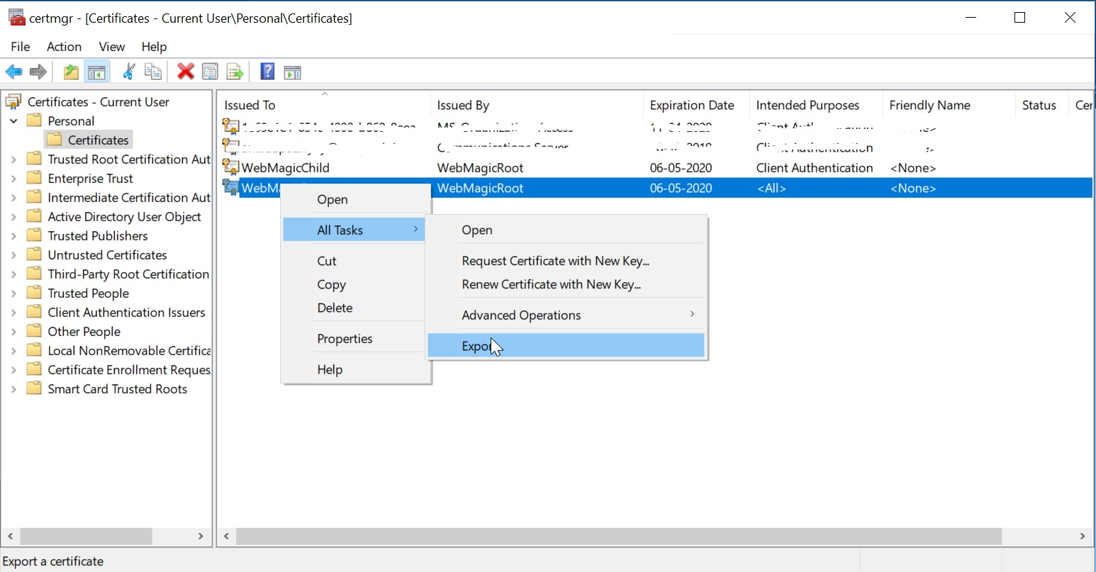 Generate and export certificates for Point-to-Site VPN